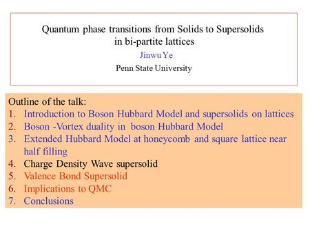 Jinwu Ye Penn State University Outline of the talk: 1.Introduction to Boson Hubbard Model and supersolids on lattices 2.Boson -Vortex duality in boson.