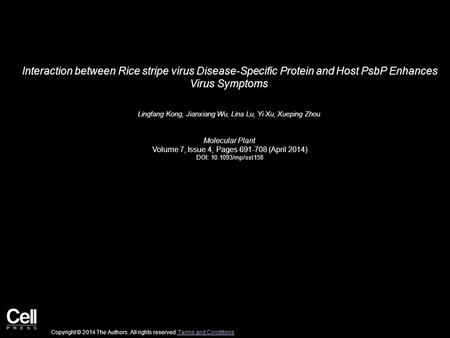 Interaction between Rice stripe virus Disease-Specific Protein and Host PsbP Enhances Virus Symptoms Lingfang Kong, Jianxiang Wu, Lina Lu, Yi Xu, Xueping.