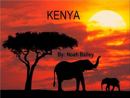 KENYA By: Noah Bailey Kenya's Flag The red stripe stands for the struggle for independence The green represents Kenya's agriculture and natural resources.