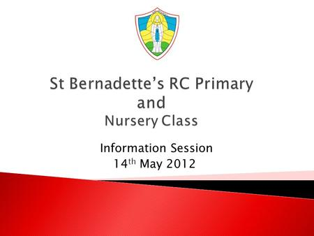 Information Session 14 th May 2012. Nursery36children Primary One36 children Primary Two13 children Primary Three12 children Primary Four 6 children Primary.