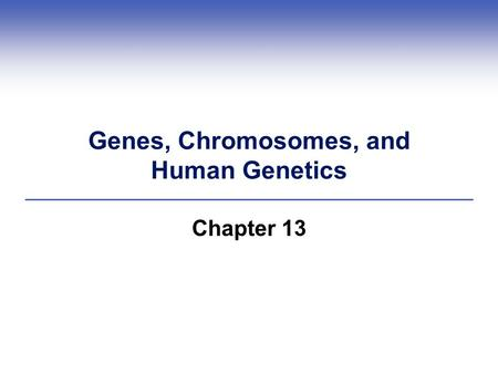 Genes, Chromosomes, and Human Genetics Chapter 13.