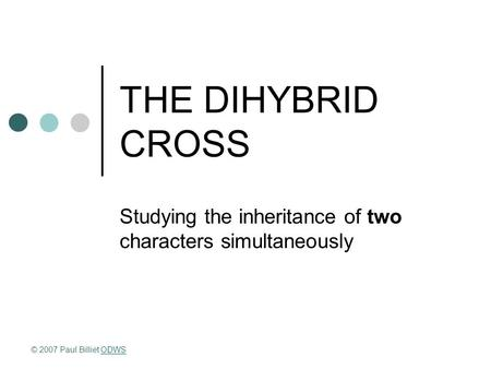 THE DIHYBRID CROSS Studying the inheritance of two characters simultaneously © 2007 Paul Billiet ODWSODWS.