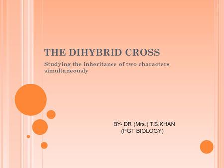 THE DIHYBRID CROSS Studying the inheritance of two characters simultaneously BY- DR (Mrs.) T.S.KHAN (PGT BIOLOGY)