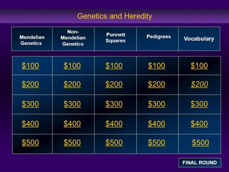 Genetics and Heredity $100 $200 $300 $400 $500 $100$100$100 $200 $300 $400 $500 Mendelian Genetics Non- Mendelian Genetics Pedigrees Vocabulary FINAL ROUND.