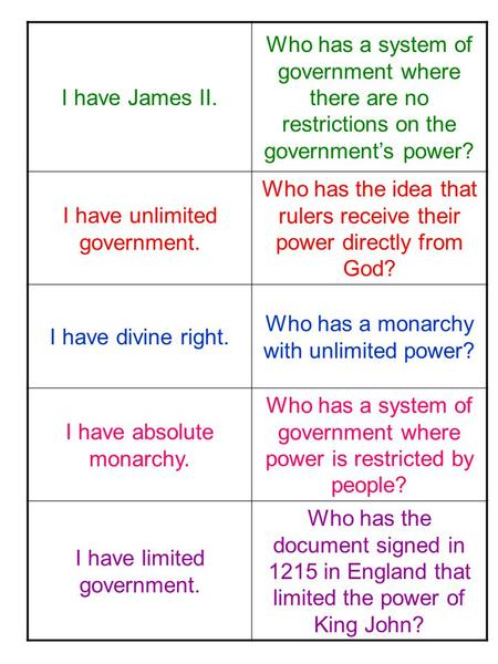 I have James II. Who has a system of government where there are no restrictions on the government's power? I have unlimited government. Who has the idea.