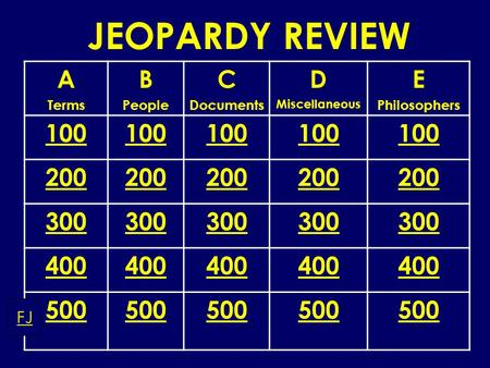 JEOPARDY REVIEW A Terms B People C Documents D Miscellaneous E Philosophers 100 200 300 400 500 FJ.