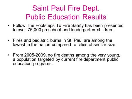 Saint Paul Fire Dept. Public Education Results