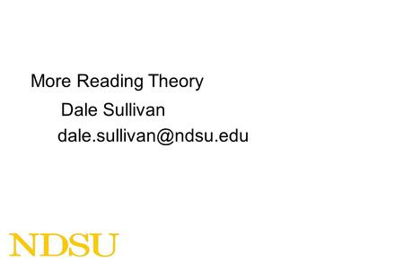 More Reading Theory Dale Sullivan