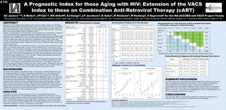 A Prognostic Index for those Aging with HIV: Extension of the VACS Index to those on Combination Anti-Retroviral Therapy (cART) AC Justice* 1,2, S Modur.