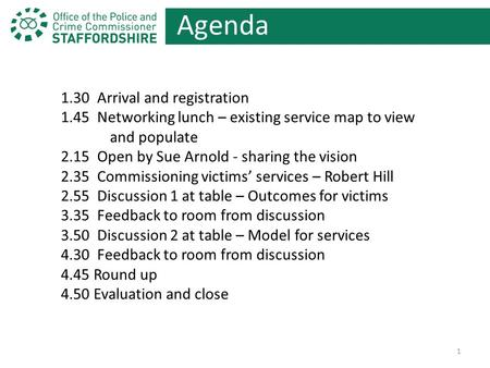 Agenda 1.30 Arrival and registration 1.45 Networking lunch – existing service map to view and populate 2.15 Open by Sue Arnold - sharing the vision 2.35.