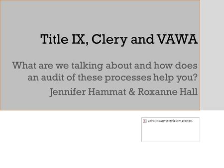 Title IX, Clery and VAWA What are we talking about and how does an audit of these processes help you? Jennifer Hammat & Roxanne Hall.