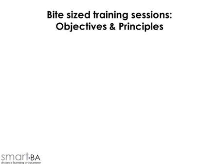 Bite sized training sessions: Objectives & Principles.