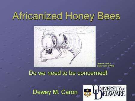 Africanized Honey Bees Do we need to be concerned! Unknown artist's Scary vision of AfHB Dewey M. Caron.
