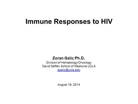 Immune Responses to HIV