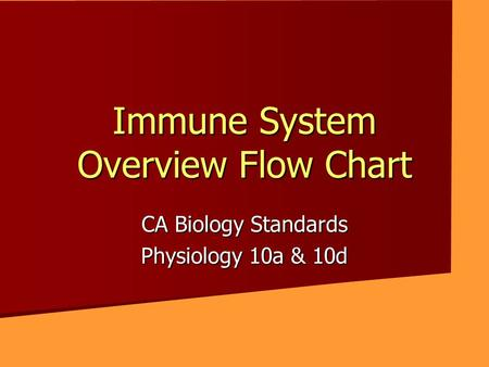 Immune System Overview Flow Chart CA Biology Standards Physiology 10a & 10d.