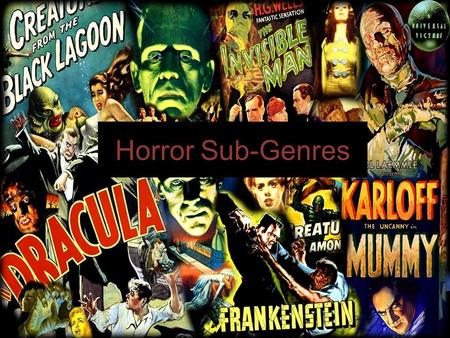 Horror Sub-Genres. Slasher Slasher horror typically involves a serial killer who stalks and murders a series of innocent victims in a violent, graphic.