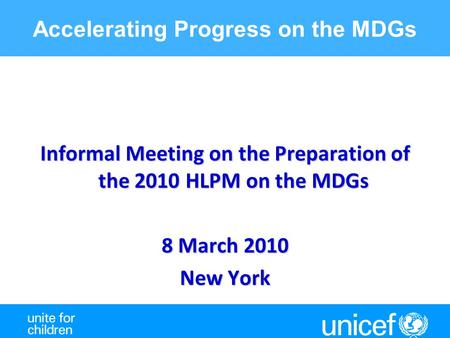 Accelerating Progress on the MDGs