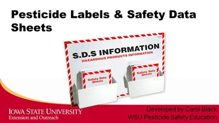 Pesticide Labels & Safety Data Sheets Developed by Carol Black WSU Pesticide Safety Education.