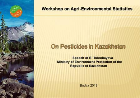 Workshop on Agri-Environmental Statistics Speech of R. Tuleubayeva Ministry of Environment Protection of the Republic of Kazakhstan Budva 2013.
