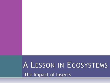 The Impact of Insects A L ESSON IN E COSYSTEMS. H ELPFUL VS. HARMFUL  Insects can be very helpful to humans:  The honey bee helps pollinate crops, so.