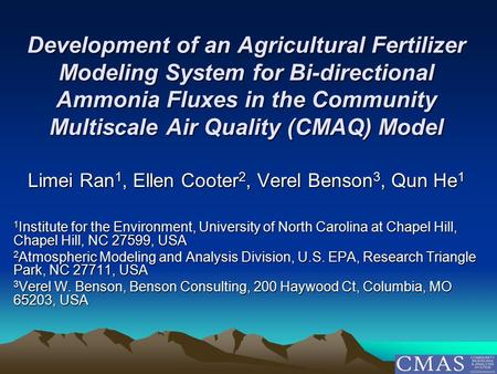 Development of an Agricultural Fertilizer Modeling System for Bi-directional Ammonia Fluxes in the Community Multiscale Air Quality (CMAQ) Model Limei.