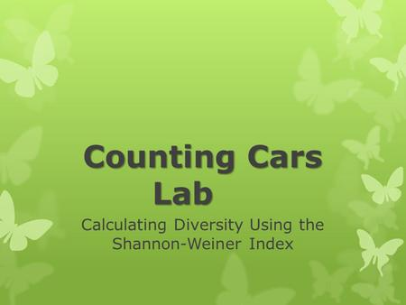 Calculating Diversity Using the Shannon-Weiner Index