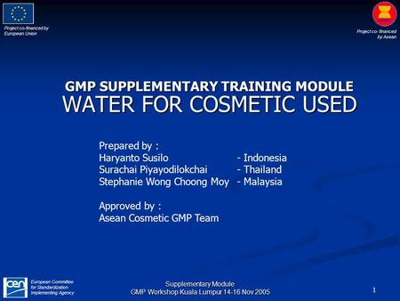 Project co-financed by European Union Project co- financed by Asean European Committee for Standardization Implementing Agency 1 Supplementary Module GMP.