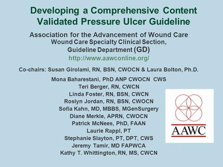 Developing a Comprehensive Content Validated Pressure Ulcer Guideline Association for the Advancement of Wound Care Wound Care Specialty Clinical Section,
