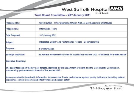 Presented By: Gwen Nuttall – Chief Operating Officer, Nichole Day Executive Chief Nurse Prepared By: Information Team Date Prepared: 18 th January 2011.
