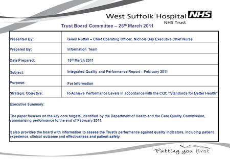 Presented By: Gwen Nuttall – Chief Operating Officer, Nichole Day Executive Chief Nurse Prepared By: Information Team Date Prepared: 15 th March 2011 Subject: