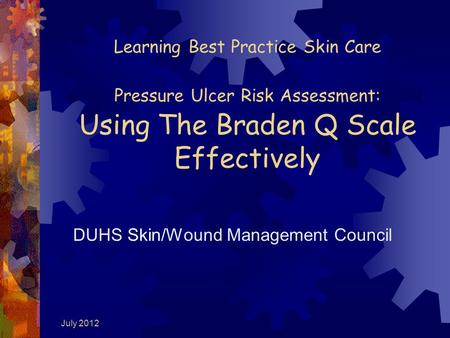 July 2012 Learning Best Practice Skin Care Pressure Ulcer Risk Assessment: Using The Braden Q Scale Effectively DUHS Skin/Wound Management Council.