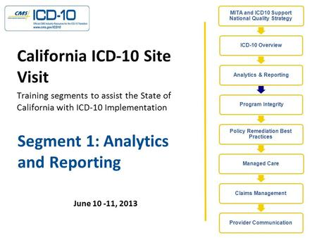Segment 1: Analytics and Reporting June 10 -11, 2013 California ICD-10 Site Visit Training segments to assist the State of California with ICD-10 Implementation.