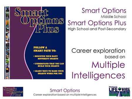 Smart Options Career exploration based on multiple intelligences Smart Options Middle School Smart Options Plus High School and Post-Secondary Career exploration.
