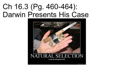 Ch 16.3 (Pg ): Darwin Presents His Case