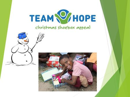 Team Hope is…… an Irish Christian, international development aid charity  Christmas Shoebox Appeal  All year round Community Development Projects 