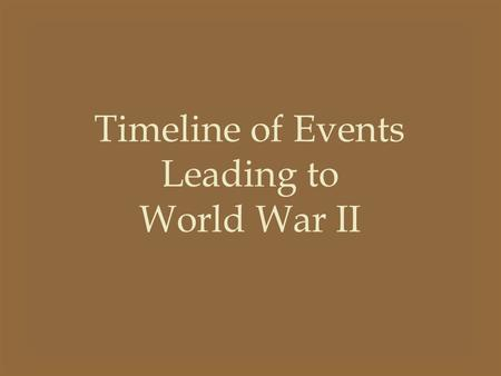 Timeline of Events Leading to World War II. 1919 The Treaty of Versailles Germany was punished for WWI Germany wasn't allowed to have war materials –