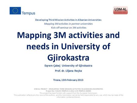 Mapping 3M activities and needs in University of Gjirokastra