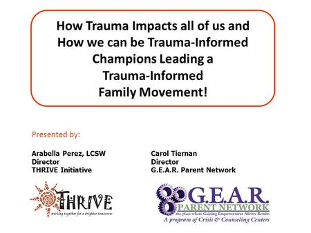 Presented by: Arabella Perez, LCSW Director THRIVE Initiative How Trauma Impacts all of us and How we can be Trauma-Informed Champions Leading a Trauma-Informed.