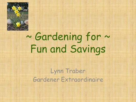 ~ Gardening for ~ Fun and Savings Lynn Traber Gardener Extraordinaire.