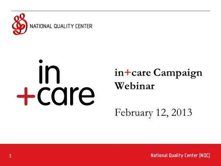 1 in+care Campaign Webinar February 12, 2013. 2 Ground Rules for Webinar Participation Actively participate and write your questions into the chat area.