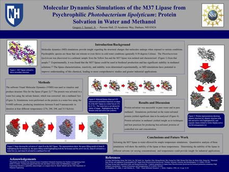 Molecular Dynamics Simulations of the M37 Lipase from Psychrophilic Photobacterium lipolyticum: Protein Solvation in Water and Methanol Gregory J. Samuel,