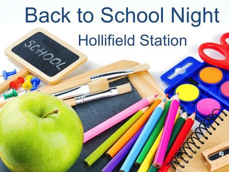 "Back to School Night Hollifield Station. Follow HSES PTA Facebook: ""Hollifield Station Elementary PTA"" Internet:www.HSESPTA.net."