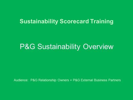 Sustainability Scorecard Training