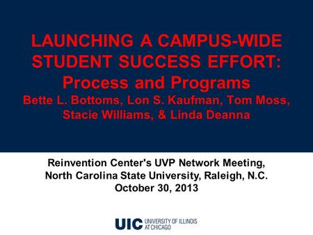 LAUNCHING A CAMPUS-WIDE STUDENT SUCCESS EFFORT: Process and Programs Bette L. Bottoms, Lon S. Kaufman, Tom Moss, Stacie Williams, & Linda Deanna Reinvention.
