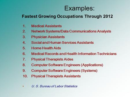 Examples: 1.Medical Assistants 2.Network Systems/Data Communications Analysts 3.Physician Assistants 4.Social and Human Services Assistants 5.Home Health.