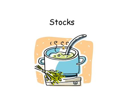 Stocks Definition of a Stock Stock- A flavorful liquid used as a base to flavor soups and sauces. A stock is made by simmering meat, poultry, fish, or.