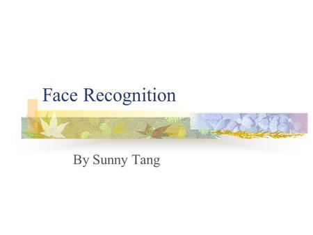 Face Recognition By Sunny Tang.