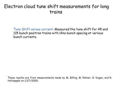 Electron cloud tune shift measurements for long trains Tune Shift versus current: Measured the tune shift for 45 and 115 bunch positron trains with 14ns.