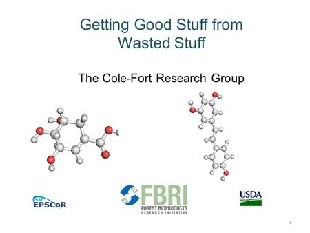 Getting Good Stuff from Wasted Stuff The Cole-Fort Research Group 1.