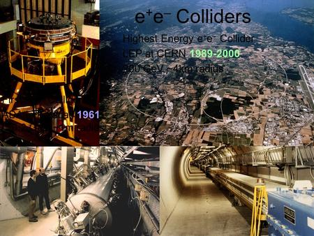 Highest Energy e + e – Collider LEP at CERN 1989-2000 200 GeV ~4km radius First e + e – Collider ADA in Frascati 1961 0.2 GeV ~1m radius e + e – Colliders.